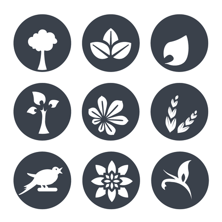simple purity flowers: Vector white natural symbols - nature abstract element with leaf, tree, flower, spikelet and bird, bio organic simple design in the circle - illustration