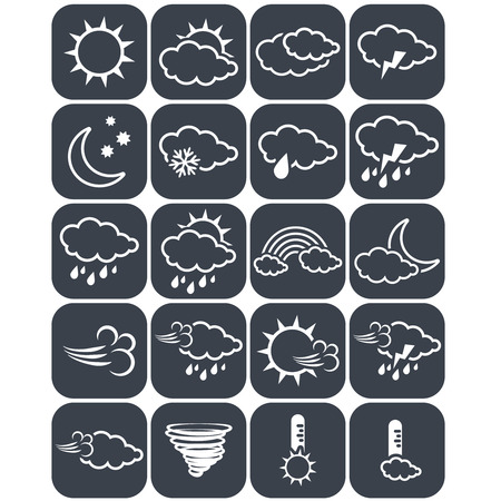 icon buttons: Vector set of dark grey weather buttons, elements of forecast, line design - icon of sun, cloud, rain, moon, snow, wind, whirlwind, rainbow, storm, tornado, thermometer - illustration