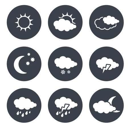 climatology: Vector set of grey circular buttons with white weather symbols, elements of forecast - illustration Illustration
