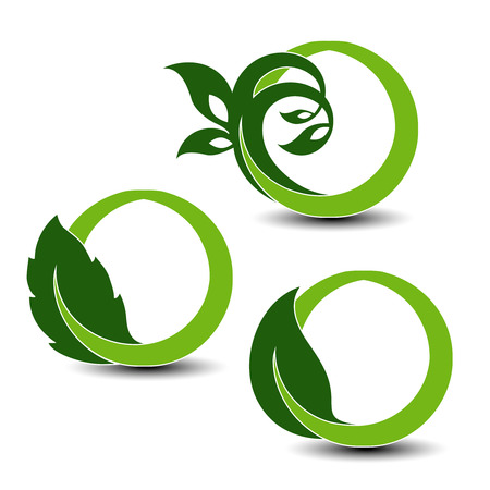 elements of nature: Vector natural symbols, nature circular elements with leaf and plant - illustration