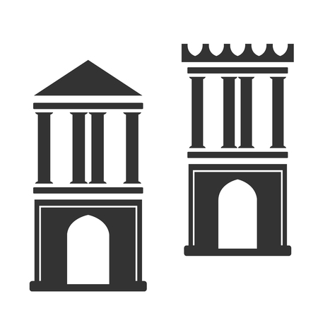 historical building: Vector architecture building symbol, historical building, two black icon of simple tower - illustration Illustration