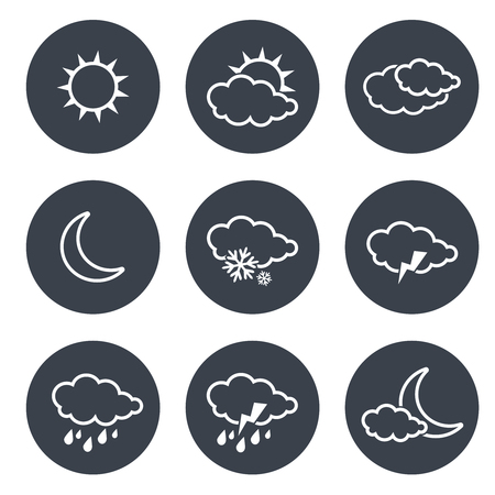 grey line: Vector set of grey circular buttons with white weather symbols, elements of forecast, line design - illustration
