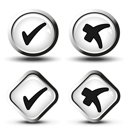 stickies: Vector white buttons with black simple check mark symbols, square and circle buttons - illustration