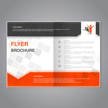 Vector modern brochure, abstract flyer with simple modern design. Aspect Ratio for A4 size. Poster of black, grey, white and orange color. Layout template, magazine cover. - illustration