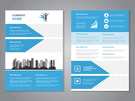 brochure background: Vector modern brochure, abstract flyer with background of monochrome buildings. Layout template. Aspect Ratio for A4 size. Poster of blue, grey, black and white color. Magazine cover. - illustration