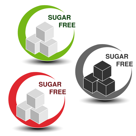 Vector sugar free symbols isolated on white background. Silhouettes cubes of sugar in a circle with shadow. - illustration
