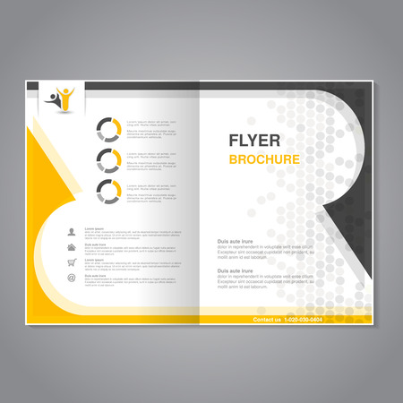 Vector modern brochure, abstract flyer with simple dotted design. Layout template. Aspect Ratio for A4 size. Poster of yellow, grey and white color. Magazine cover. - illustration