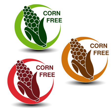 Vector corn free symbols isolated on white background. Silhouettes maize in a circle with shadow. - illustration