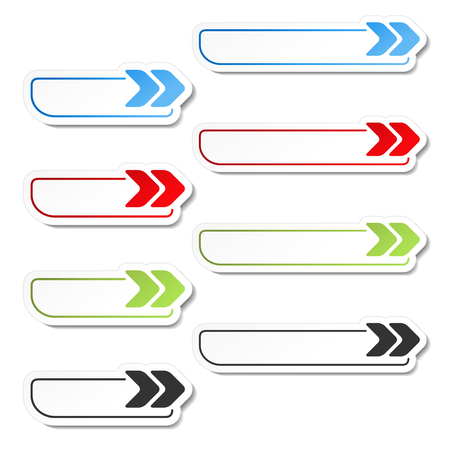 blue buttons: Vector arrow buttons. Black, green, blue and red arrows on the white simple stickers, rectangle with rounded corners. - illustration