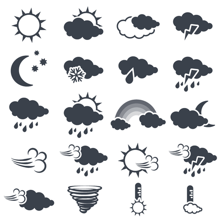 Vector set of various dark grey weather symbols, elements of forecast - icon of sun, cloud, rain, moon, snow, wind, whirlwind, rainbow, storm, tornado, thermometer - illustration Illustration