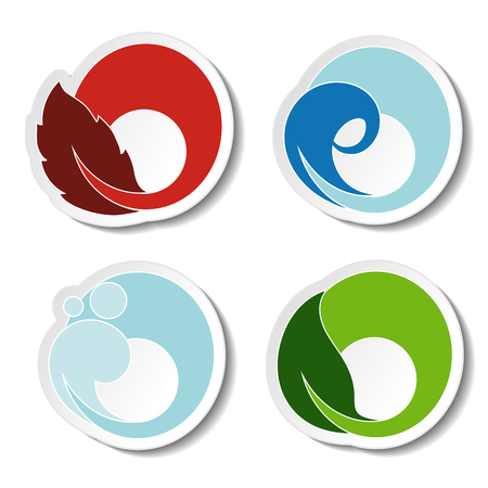 land mark: Vector natural symbols - fire, air, water, earth - nature circular stickers with flame, bubble air, wave water and leaf - illustration