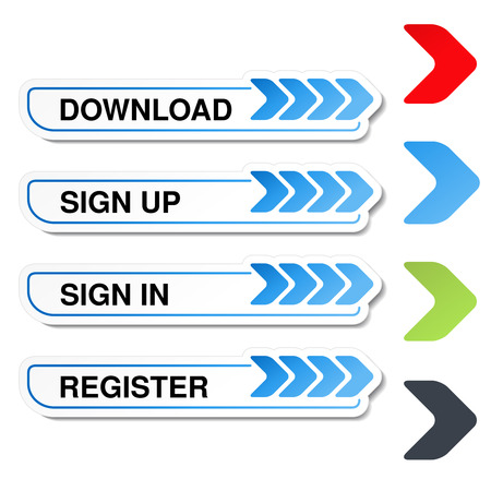 website buttons: Vector buttons for website or app. Button - Sign Up, Sign In, Register, Download, Upload - illustration