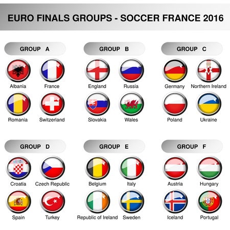 Vector Europe final groups, set flags of participants in year 2016. Soccer cup. Championship - football in France - group A, B, C, D, E, F, original design of glossy buttons - illustration