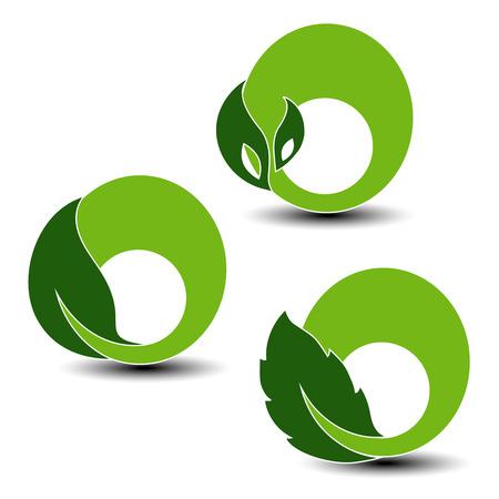 elements of nature: Vector natural symbols, nature circular elements with leaf, plant - illustration