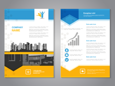 white poster: Vector modern brochure with arrow design, abstract flyer with background of monochrome buildings. Layout template. Aspect Ratio for A4 size. Poster of blue, yellow, grey, black and white color. Magazine cover. - illustration Illustration