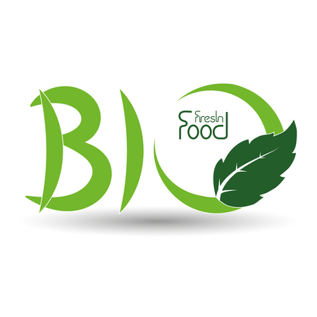 natural food: Vector natural symbols, nature bio fresh food icon with leaf - illustration