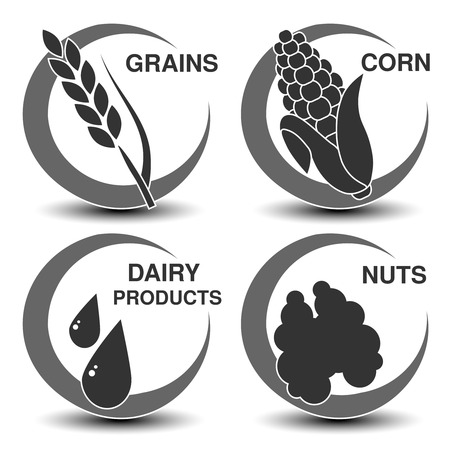 black circle: Vector set of dark grey allergen symbols. Icon of grains, corn, dairy products and nuts. Sign of food allergy in a circle. - illustration