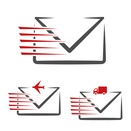 freight traffic: Vector speed symbol of delivery message e-mail. Fast air transport and freight traffic. Symbol of letters, envelopes. - illustration