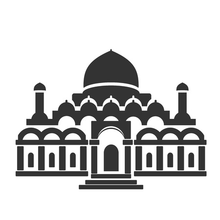 historical building: Vector architecture building symbol, historical building, black icon of mosque, temple - illustration