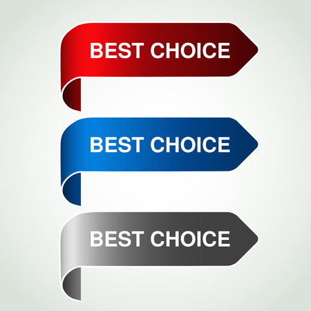blue buttons: Vector arrow buttons with best choice. Silver, blue and red bent ribbon, simple stickers on your product. - illustration
