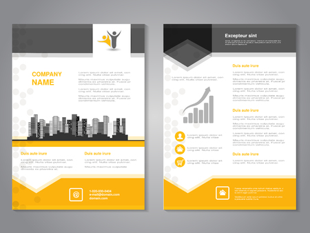 corporate identity template: Vector modern brochure with arrow design, abstract flyer with background of monochrome buildings. Layout template. Aspect Ratio for A4 size. Poster of yellow, grey, black and white color. Magazine cover. - illustration Illustration