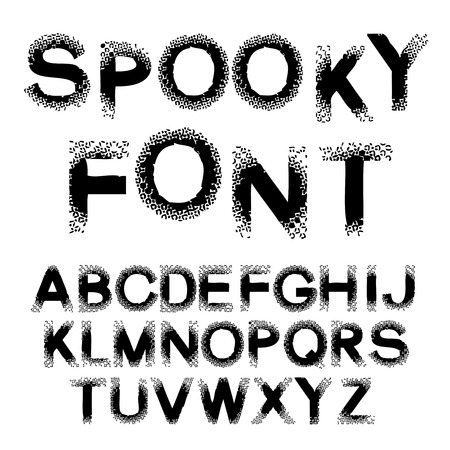 spooky: Vector black alphabet - spooky font, capital letters with spot design, dotted effect - illustration