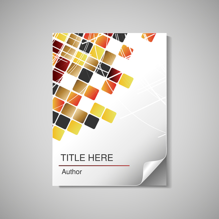 Vector modern book cover, brochure, flyer - design template for documents and reports with squared abstract background - illustration