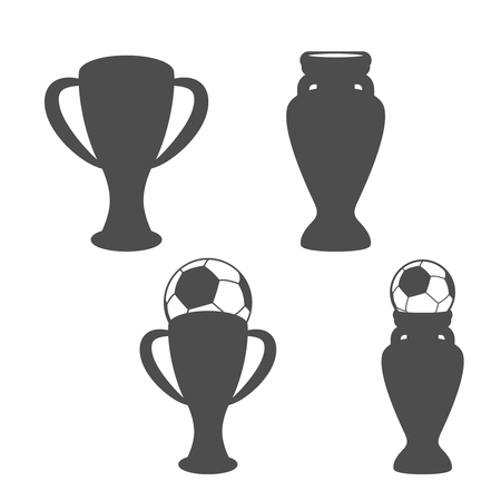 world championships: Vector set of soccer cup, icon of football,  grey symbols of championship, icons with ball - illustration