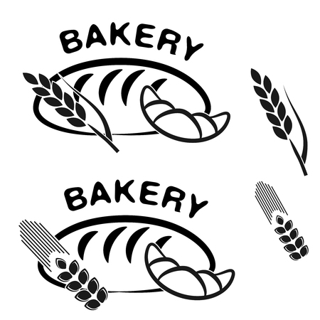 Vector bakery shop symbols. Black simple icon of croissant, bread and spike grain. - illustration 向量圖像