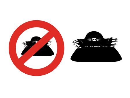 Vector mole isolated on white background. Black silhouette in a red circle. Symbol of stop garden pest. Sign of ban on a mole. - illustration