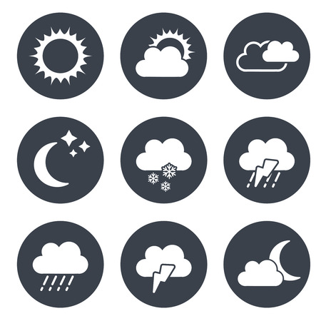 climatology: Vector set of grey circular buttons with weather symbols - illustration