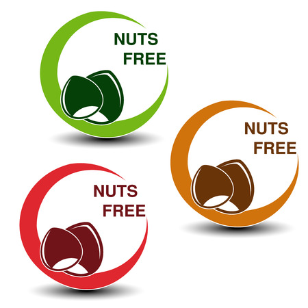 allergic foods: Vector nuts free symbols isolated on white background. Silhouettes hazelnuts in a circle with shadow. - illustration Illustration