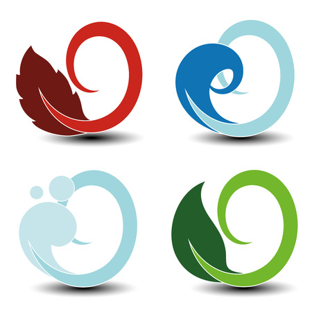 land mark: Vector natural symbols - fire, air, water, earth - nature circular elements with flame, bubble air, wave water and leaf - illustration Illustration