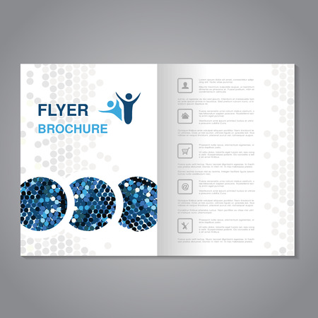 blue grey: Vector modern brochure, abstract flyer with simple dotted design. Aspect Ratio for A4 size. Poster of blue, grey and white color. Layout template, magazine cover. - illustration