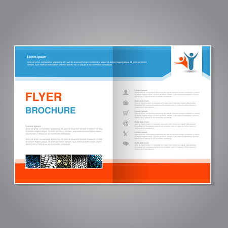 Vector modern brochure, abstract flyer with simple dotted design. Aspect Ratio for A4 size. Poster of blue, orange, grey, golden, silver and white color. Layout template, magazine cover. - illustration