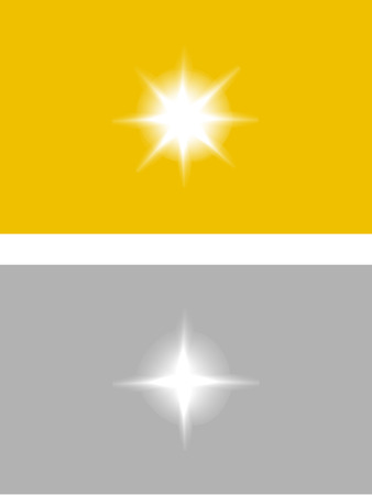 silver reflection: Vector sparkles glossy symbol on the gold and silver background - star glitter, stellar flare, reflection - illustration Illustration