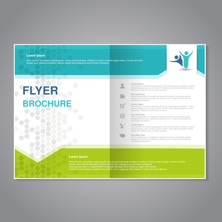 magazine template: Vector modern brochure, abstract flyer with simple dotted design. Layout template with arrows. Aspect Ratio for A4 size. Poster of turquoise, green, grey and white color. Magazine cover. - illustration