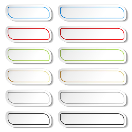 Vector buttons. Black, green, blue, golden, grey and red lines on white simple stickers, rectangle with rounded corners. - illustration Illustration