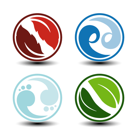 Vector natural symbols - fire, air, water, earth - nature circular icons with flame, bubble air, wave water and leaf. Elements of ecology sources, alternative energy. - illustration Illustration