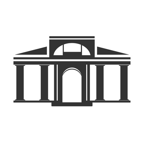 historical building: Vector architecture building symbol, historical building, black icon of simple temple - illustration