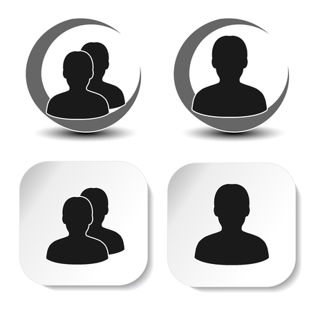 humankind: Vector user and community black symbols. Simple man silhouette. Profile labels on white square sticker and round symbol. Sign of member or person on social network. - illustration