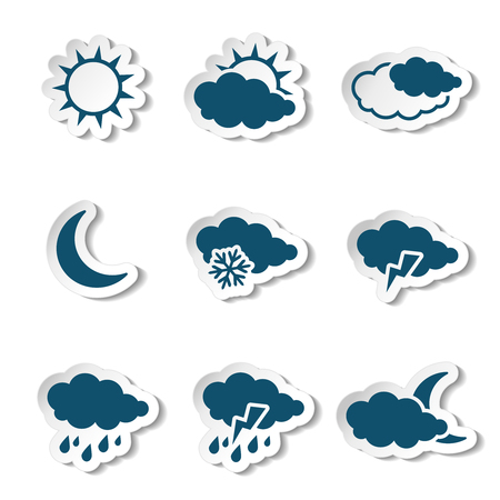 meteorology: Vector set of white various stickers with dark blue weather symbols, elements of forecast - illustration Illustration