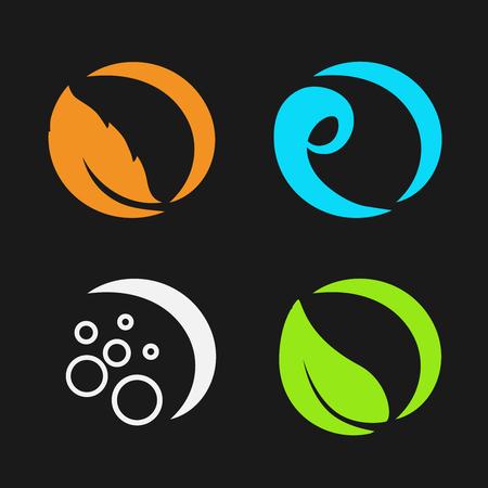 Vector quattro elementi naturali - fuoco, aria, acqua, terra - natura simboli circolari con fiamma, aria bolla, acqua onda e foglie - illustrazione