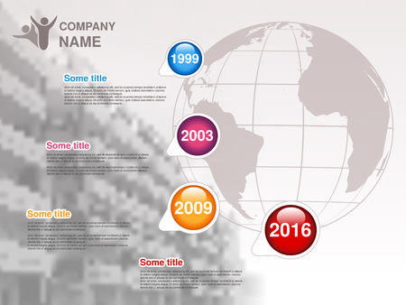 Vector timeline. Infographic template for company. Timeline with colorful milestones - blue, magenta, orange, red. Graphic design with globe and background of business building . Profile of company. - illustration