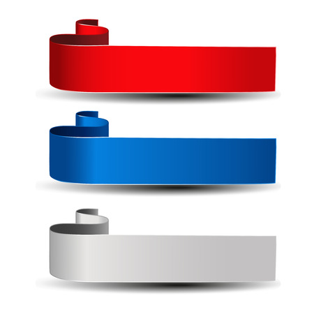 blue buttons: Vector buttons for website or app. Grey, red and blue label. Bent ribbon. Possible uses for text Buy now, Subscribe, Sign Up, Register, Download, Upload, Search, Next, Previous, Learn More etc. - illustration Illustration