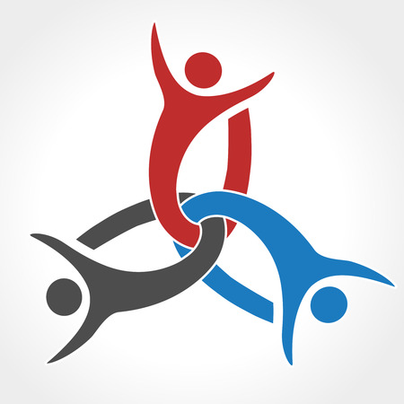 silhouttes: Vector together joined people icon. Red, blue and grey community symbol. Human sign of two partners. Silhouttes of body with transparency shadow. Symbol of succes. - illustration