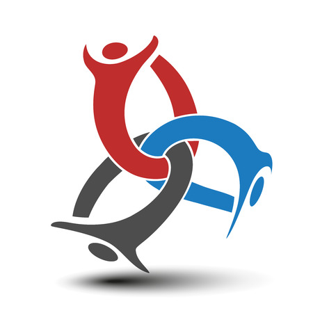 silhouttes: Vector together joined people icon. Red, blue and grey community symbol. Human sign of three partners. Silhouttes of body with transparency shadow. Symbol of succes. - illustration