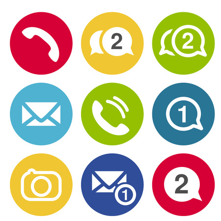 earphone: Vector communication chat icons. Circular buttons for chat or forum with earphone, camera, message and envelope symbol. - illustration Illustration