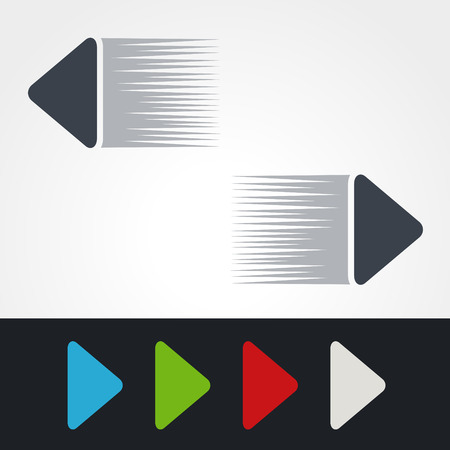 blue buttons: Vector blue, green, red, white and grey speed arrows. Simple arrow buttons. Pointer on web. Sign of next, read more, play, go etc. - illustration