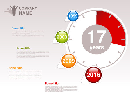 Vector timeline. Infographic template for company. Timeline with colorful milestones - blue, green, orange, red. Pointer of individual years. Graphic design with clock. Profile of company. - illustration